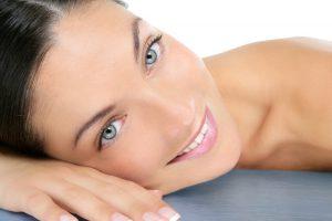 Beautiful clean cosmetics woman