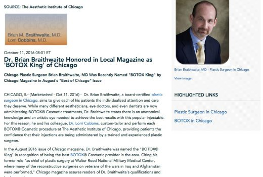 """Dr. Brian Braithwaite is the reigning """"BOTOX® King"""" of Chicago."""